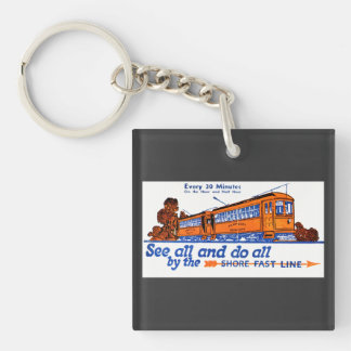 The Shore Fast Line Trolley Service Double-Sided Square Acrylic Keychain