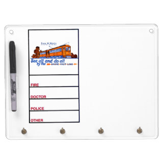 The Shore Fast Line Trolley Service Dry Erase Board With Keychain Holder