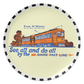 The Shore Fast Line Trolley Service Party Plate