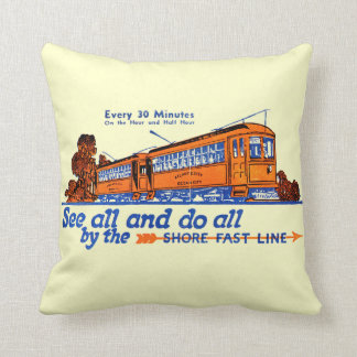 The Shore Fast Line Trolley Service Throw Pillow