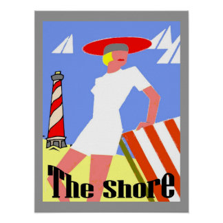 The Shore, Gal at Lighthouse Poster