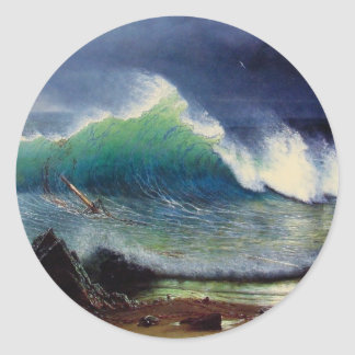 The Shore of the Turquoise Sea Classic Round Sticker
