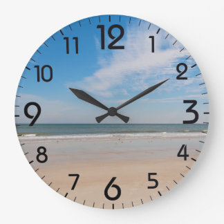 The shoreline at Jacksonville Beach, Florida Large Clock
