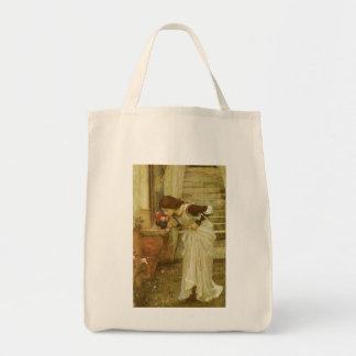 The Shrine by JW Waterhouse, Vintage Victorian Art Tote Bags