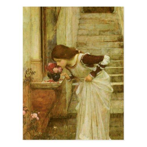 The Shrine by JW Waterhouse, Vintage Victorian Art Post Card