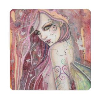 The Shy Flirt Fairy Modern Fantasy Art Puzzle Coaster