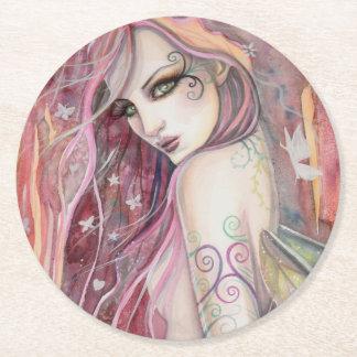 The Shy Flirt Fairy Modern Fantasy Art Round Paper Coaster