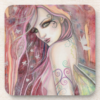 The Shy Flirt Modern Fairy Fantasy Art Drink Coasters