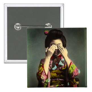 The Shy Geisha Vintage Old Japan Hand Colored Pinback Button
