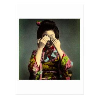 The Shy Geisha Vintage Old Japan Hand Colored Postcard