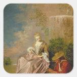 The Shy Lover, 1718 Square Sticker