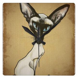 The Siamese Cat Caricature Square Wall Clock