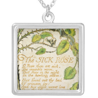 The Sick Rose, from Songs of Innocence Square Pendant Necklace