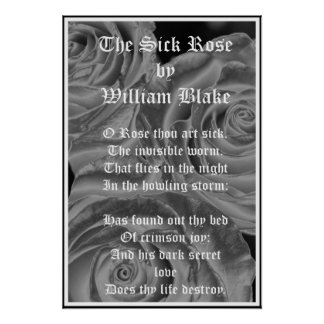 The Sick Rose, William Blake, Gothic Roses Print