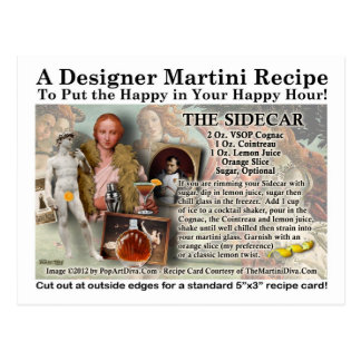The Sidecar Cocktail Recipe Postcard