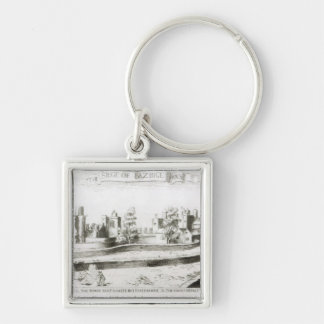 The Siege of Basing House, 1645 Silver-Colored Square Keychain