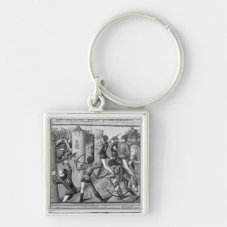 The Siege of Jargeau Silver-Colored Square Keychain