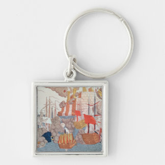 The Siege of Navarino, 20th October 1827 Silver-Colored Square Keychain