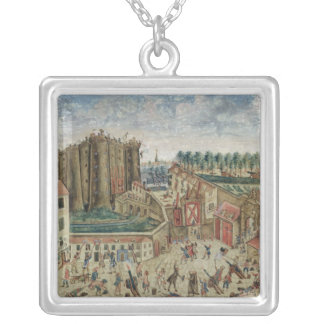 The Siege of the Bastille, 1789 Square Pendant Necklace