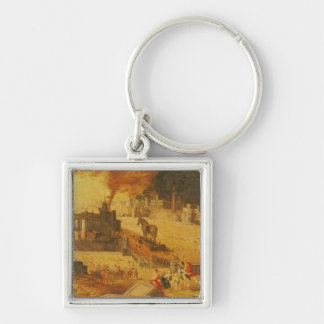 The Siege of Troy Silver-Colored Square Keychain