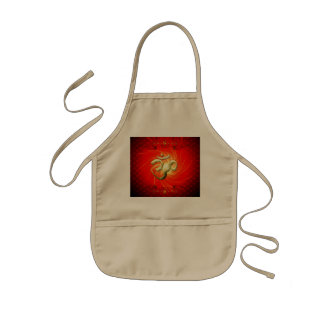 The sign om in gold kids' apron