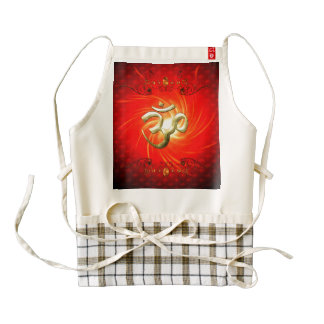 The sign om in gold zazzle HEART apron