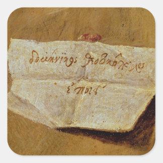 The signature of El Greco Square Sticker