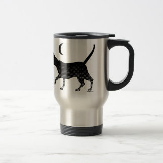 The silhouette of a cat under the moon travel mug