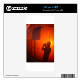 The silhouette of a man on a red-orange wall iPhone 4S decals