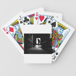 the silhouettes of people bicycle playing cards