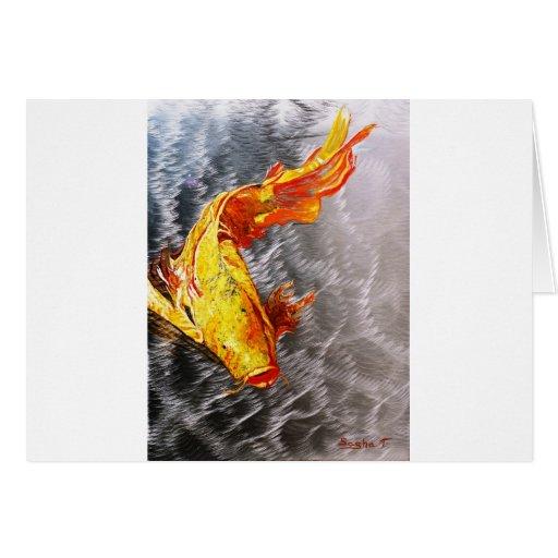 The Silver Koi Fish Print Greeting Cards