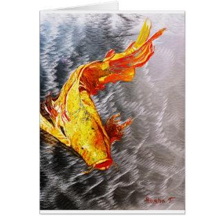 The Silver Koi Fish Print Card