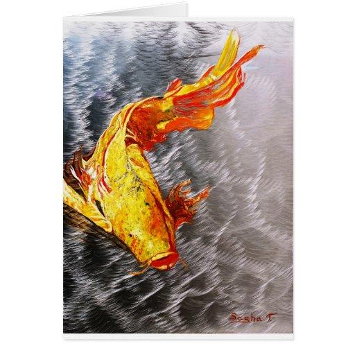 The Silver Koi Fish Print Greeting Card