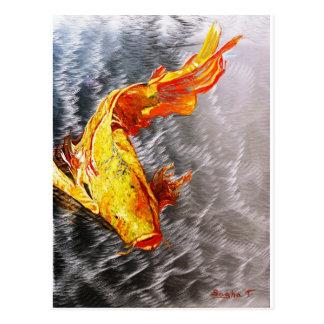 The Silver Koi Fish Print Postcard