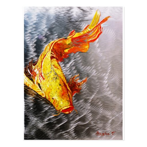 The Silver Koi Fish Print Post Card