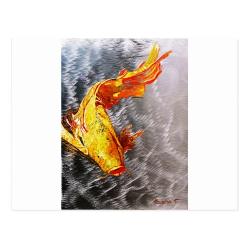 The Silver Koi Fish Print Post Cards