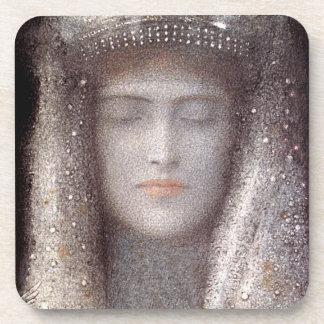 The Silver Tiara- Silver Crown - by Odilon Redon Drink Coaster