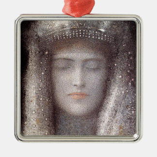 The Silver Tiara- Silver Crown - by Odilon Redon Metal Ornament