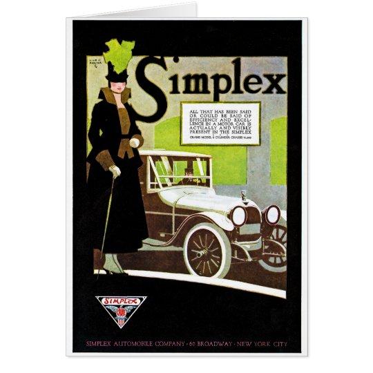 The Simplex - Vintage Automobile Advertisement Card