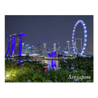 The Singapore Skyline by Night Postcard