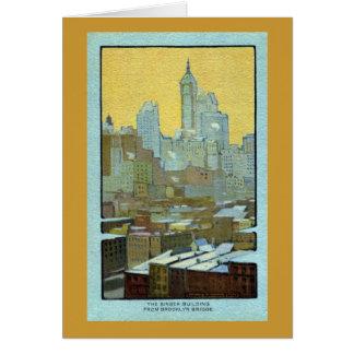 The Singer Building From Brooklyn Bridge Card