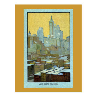 The Singer Building From Brooklyn Bridge Post Card