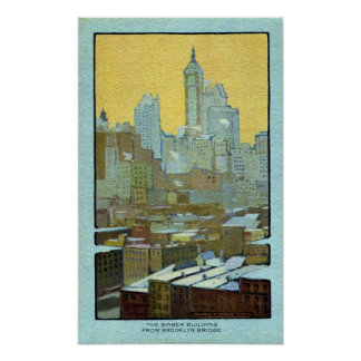 The Singer Building From Brooklyn Bridge Poster