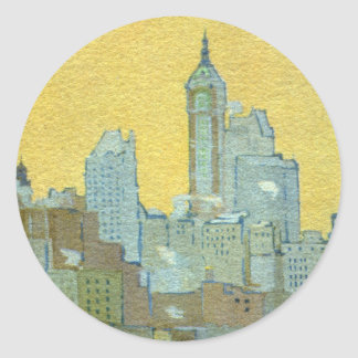 The Singer Building From Brooklyn Bridge Round Stickers