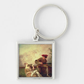 The Singing Lesson Silver-Colored Square Keychain