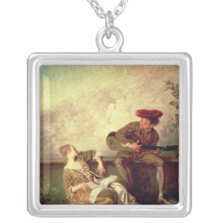 The Singing Lesson Square Pendant Necklace