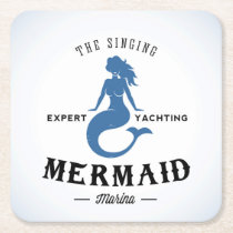 The Singing Mermaid Poster Square Paper Coaster