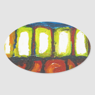 The Six Doors (spiritual expressionism ) Oval Sticker