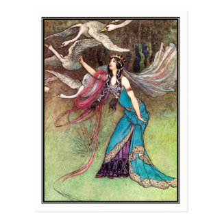 The Six Swans by Warwick Goble Postcard