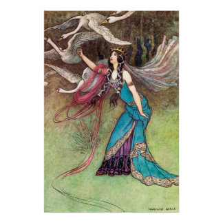 The Six Swans by Warwick Goble Poster